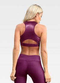 Red Leather Effect Sports Bra - Back
