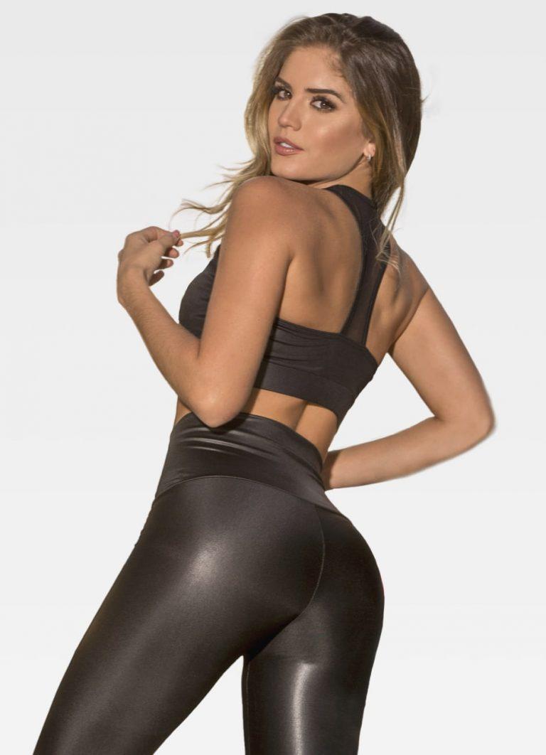 Black Leather Effect Sports Bra - Back