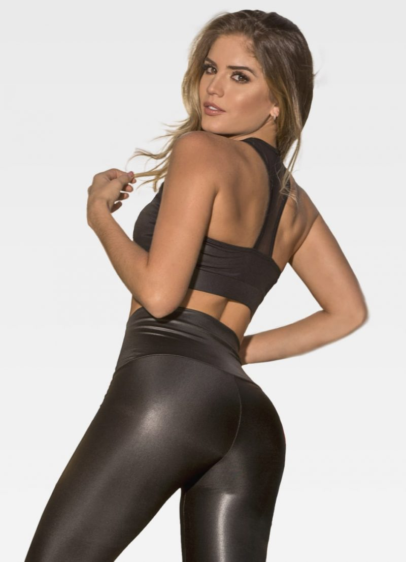 Black Leather Effect Sports Bra - Back