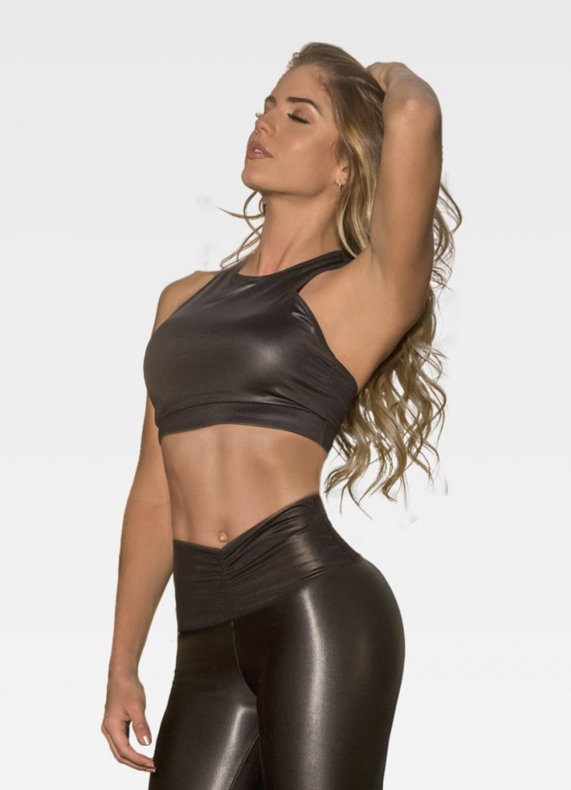 Black Leather Effect Sports Bra - Front
