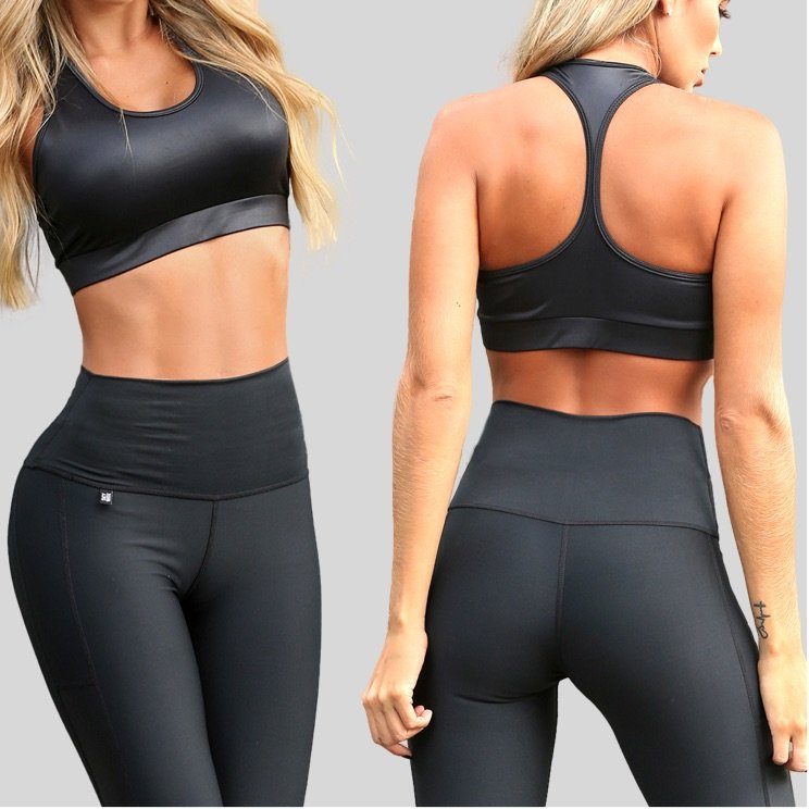 Black sports top front and back