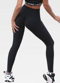 Black Textured Leggings back